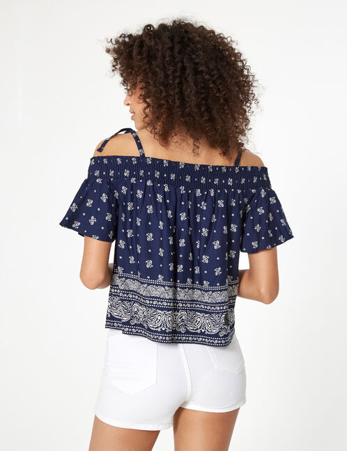 blouse imprimé cachemire bleu marine