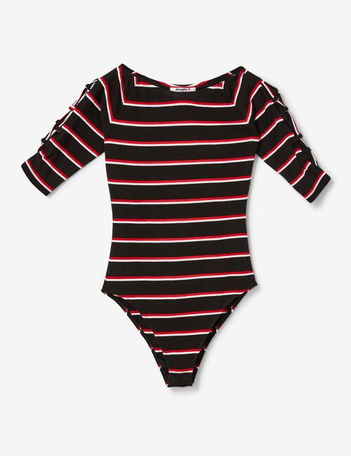 Black, red and white striped bodysuit with lacing detail