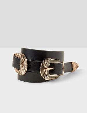 ceinture double western noire