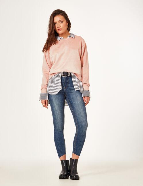 Light pink faux suede sweatshirt