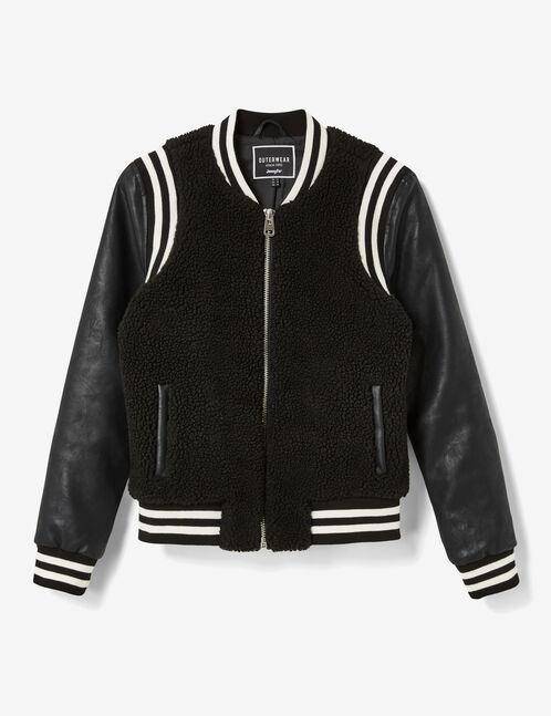 Black mixed fabric bomber jacket