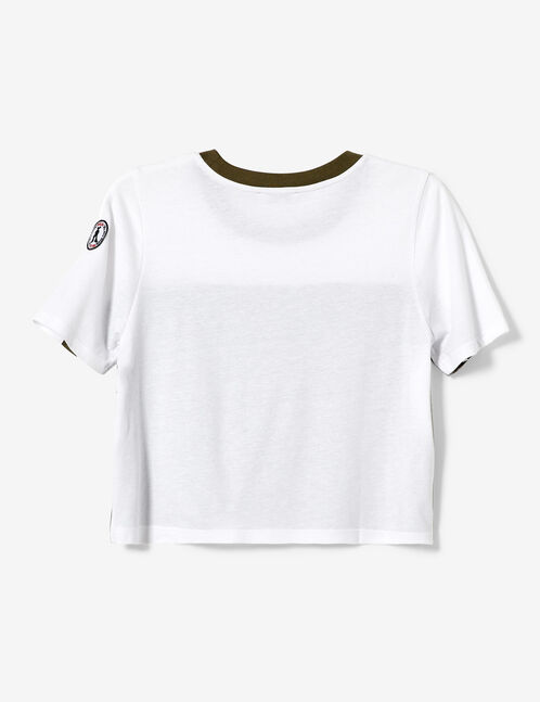 White and khaki T-shirt with text design detail