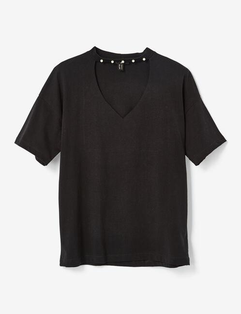 tee-shirt avec perles noir