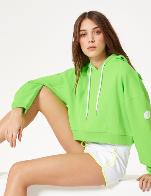 Cropped neon green hoodie