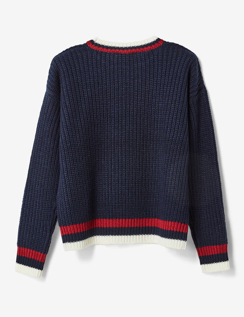 Navy blue jumper with striped edging