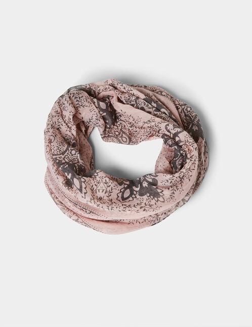 Light pink and grey floral snood