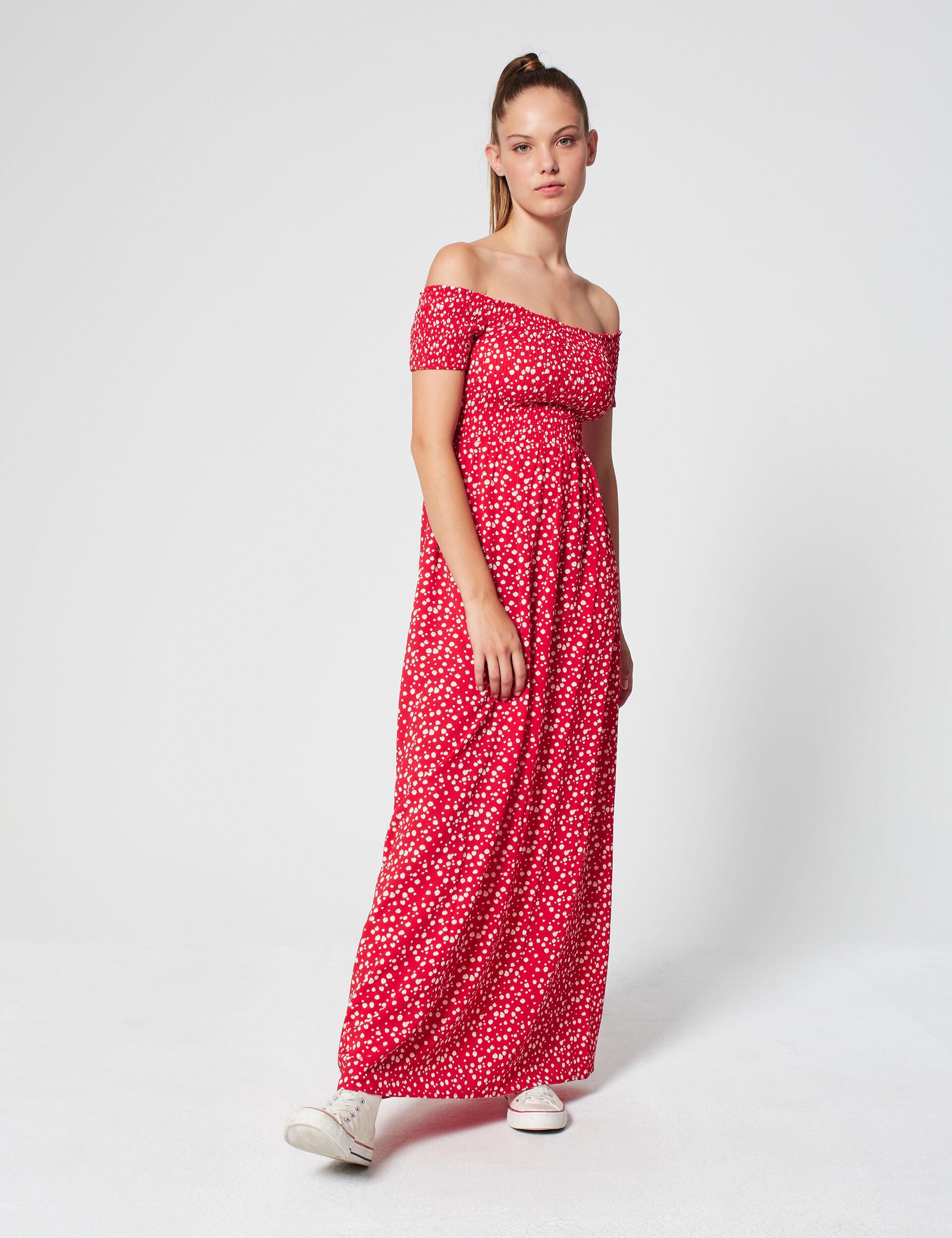 Robe longue smockée