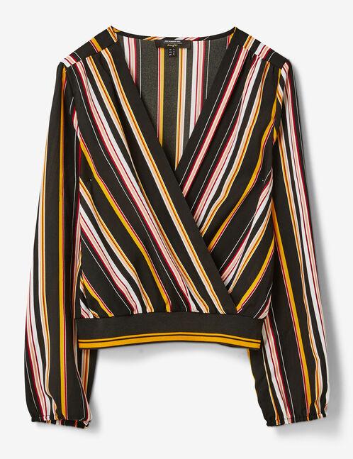 blouse cache-coeur rayée ocre, bordeaux, noire et blanche