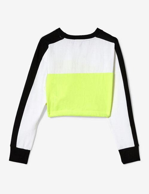 sweat crop jaune fluo noir et blanc