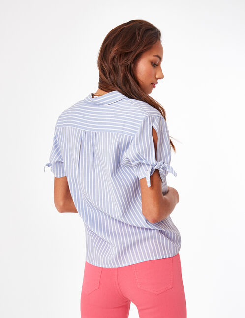 Light blue and cream striped blouse