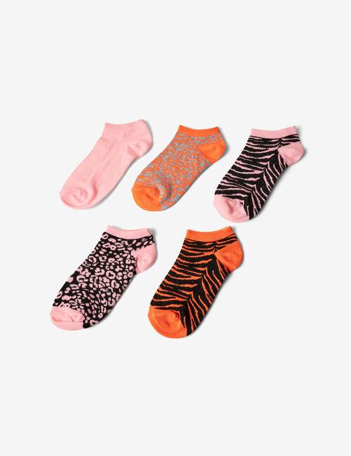 chaussettes léopard et zèbre grises, orange fluo et rose fluo