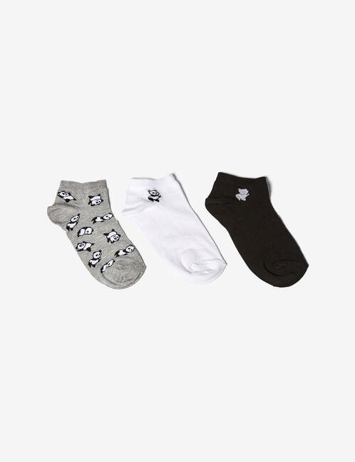 Black, grey and white panda socks