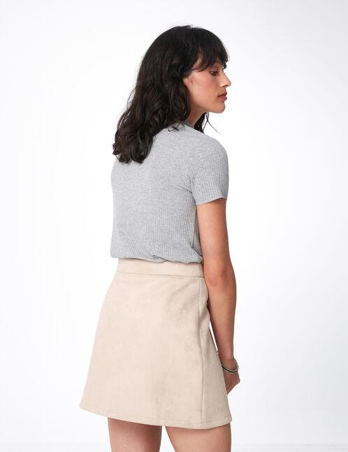 jupe zippée en suédine rose clair