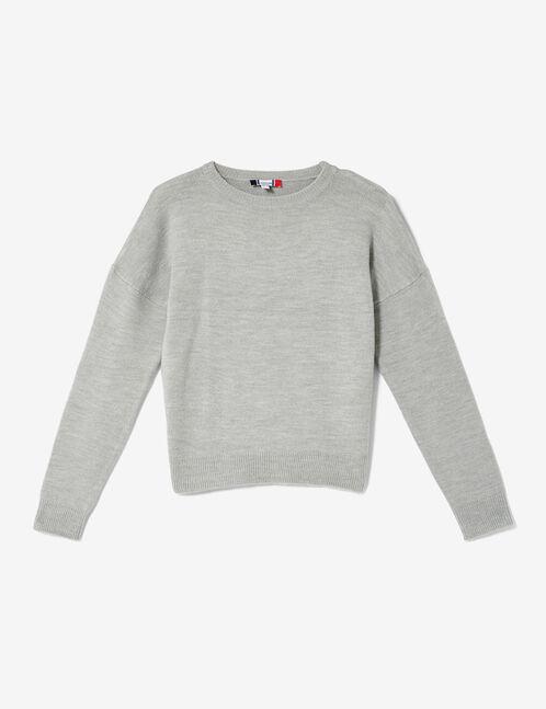 pull toucher cachemire gris chiné