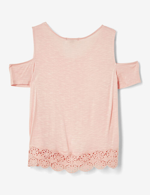 Light pink cold shoulder T-shirt