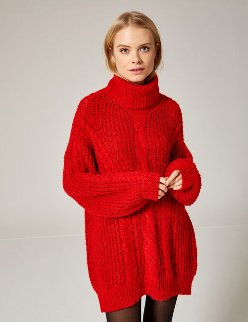 pull doux oversize rouge