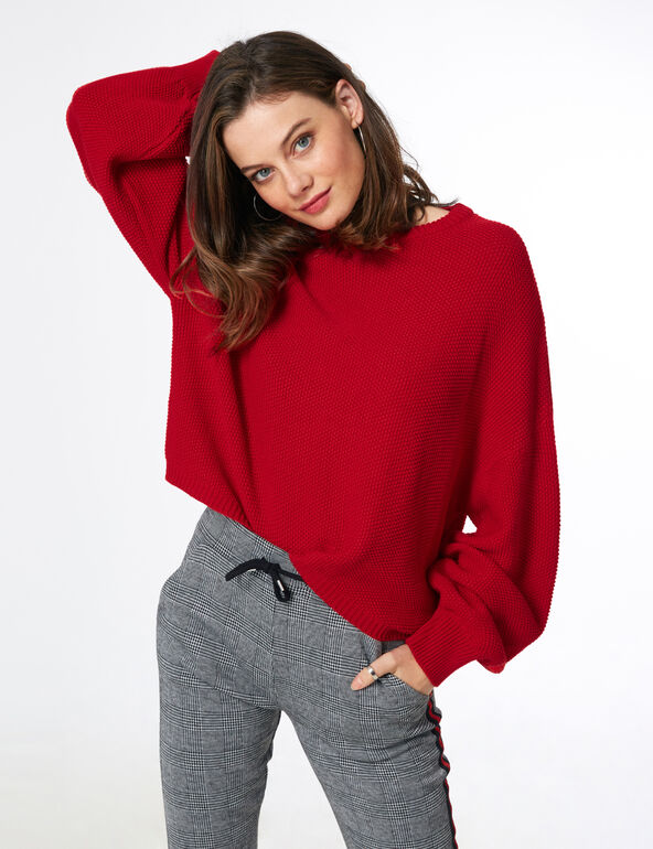 Red textured jumper