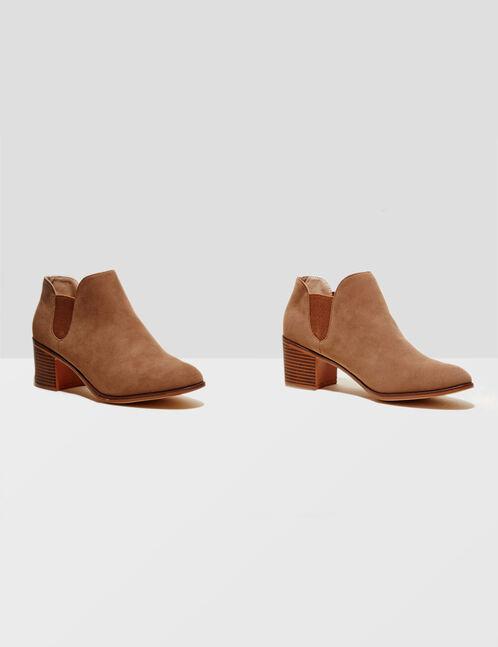 boots en suédine camel