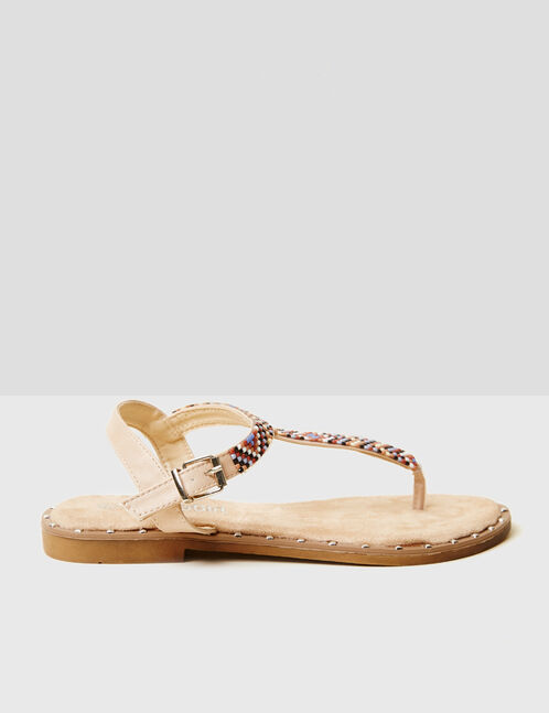 Flat beige sandals with beading detail