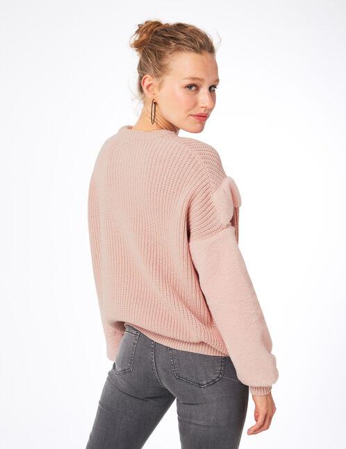 Light pink mixed fabric jumper