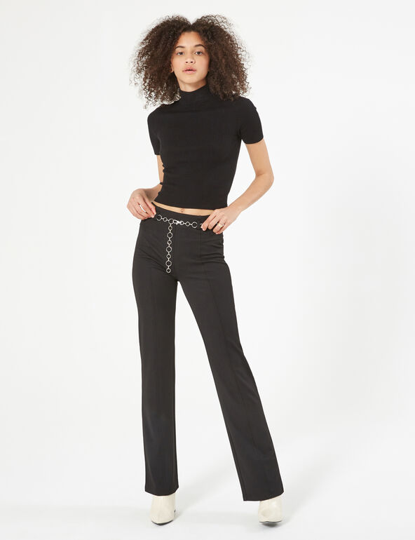 Flared trousers with chain