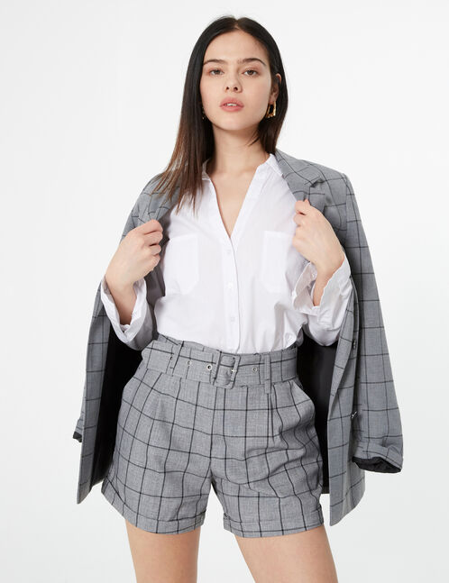 checked high waisted shorts