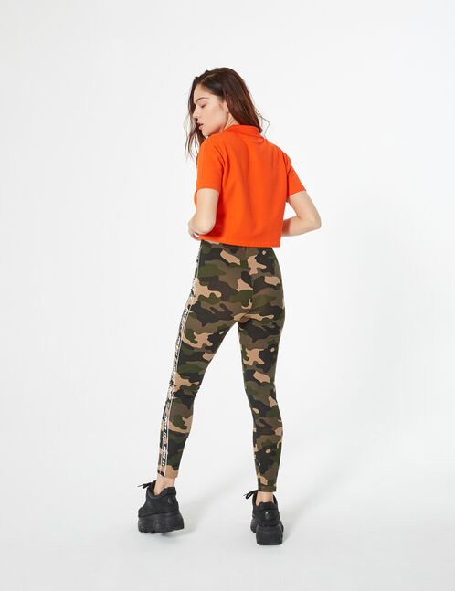 camouflage leggings with trim detail