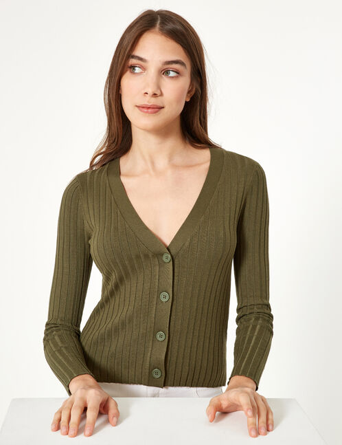 Khaki ribbed cardigan