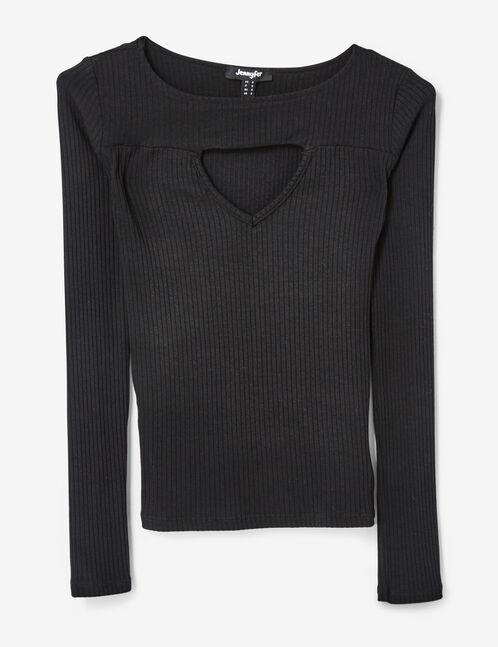 tee-shirt avec ouverture noir