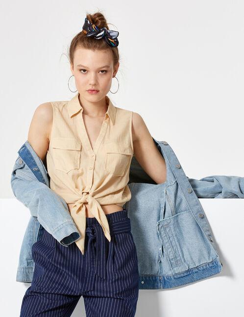 chemisette sans manches beige