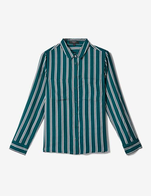 chemise à rayures verte, blanche et noire