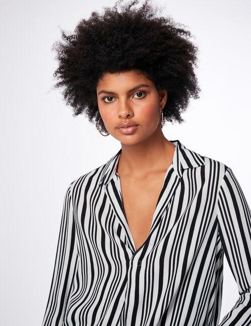blouse rayée col v écrue et noire