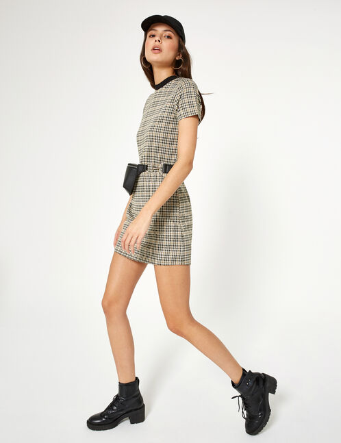 Beige and brown checked dress