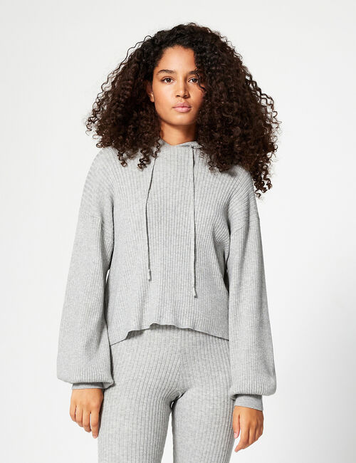 Hooded ribbed jumper