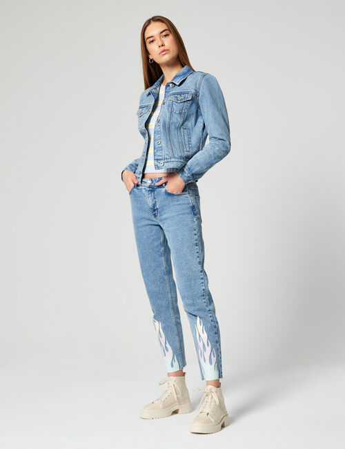 Slim fit mom jeans with flames