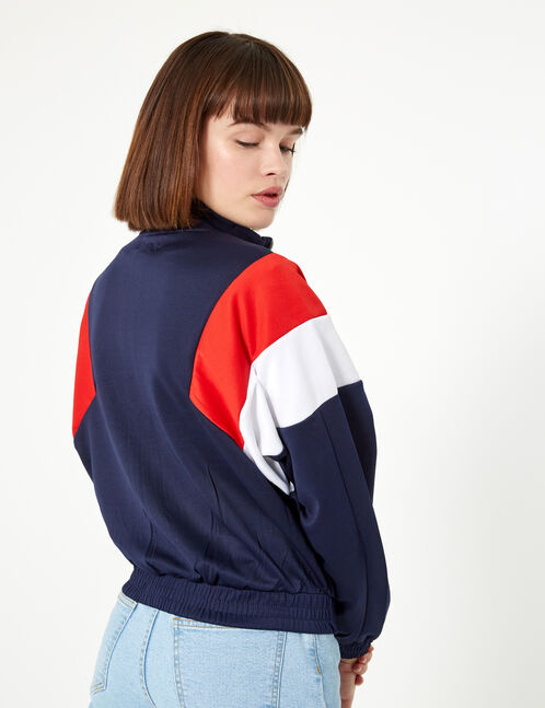 Navy blue, red and white zip-up jogging jacket