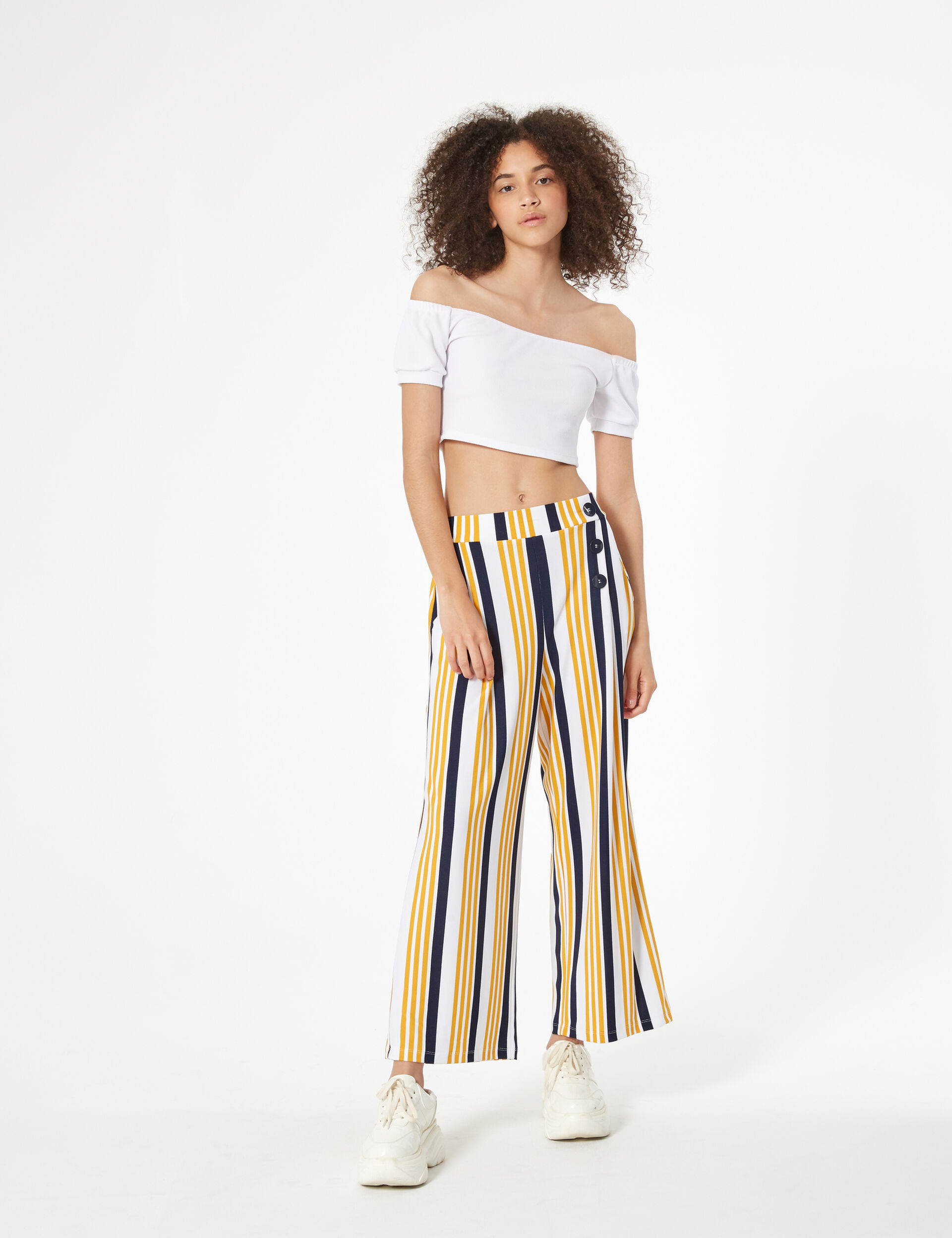 Striped loose-fit trousers
