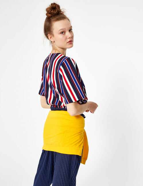 Navy blue, cream and red striped wrap top