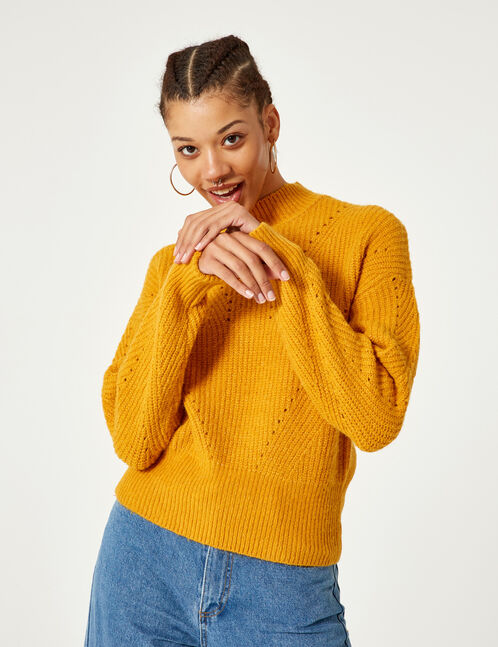 pull maille ajourée ocre