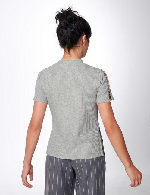 tee-shirt avec oeillets gris chiné