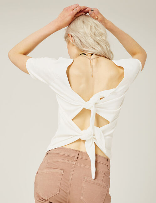 tee-shirt avec noeud dos écru