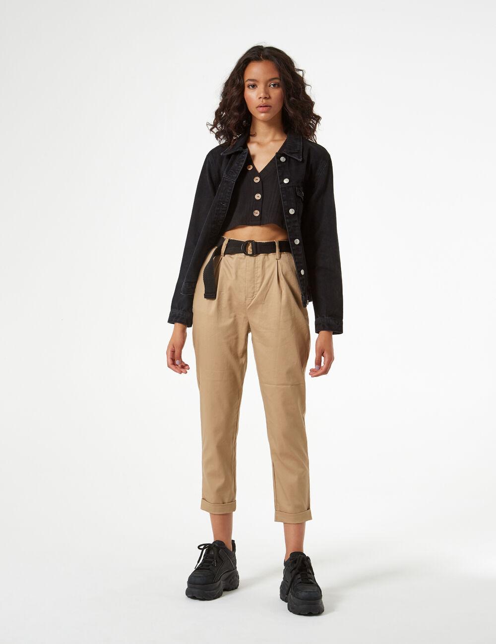 pantalon avec ceinture femme jennyfer. Black Bedroom Furniture Sets. Home Design Ideas