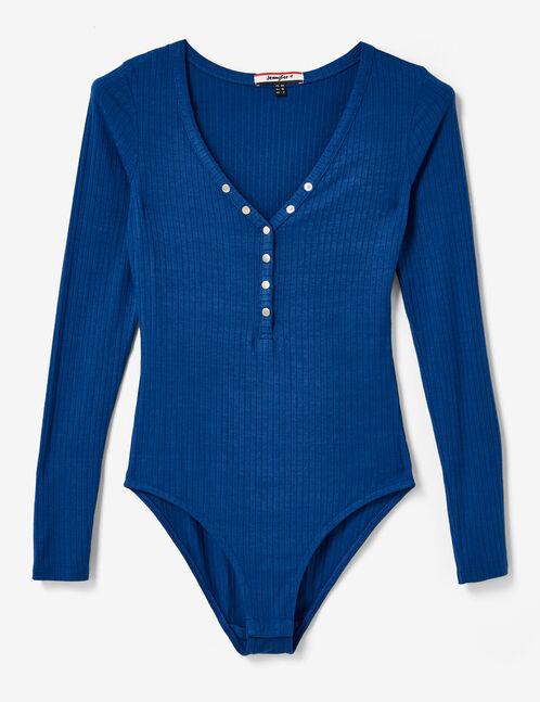Blue long-sleeved bodysuit