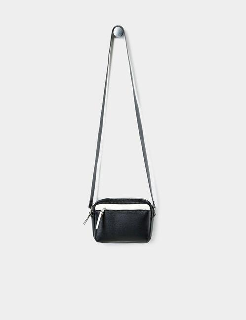 petite besace zippée noire et blanche