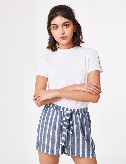 Navy blue and cream striped draped shorts