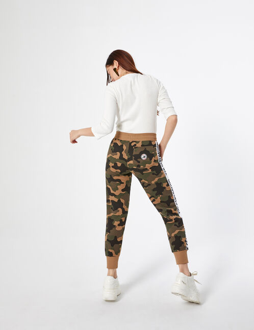 striped camouflage joggers