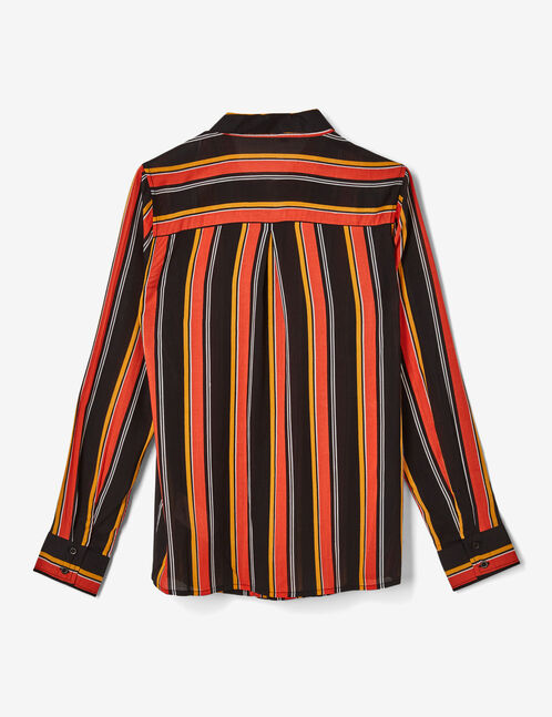 Orange, ochre, black and white striped shirt