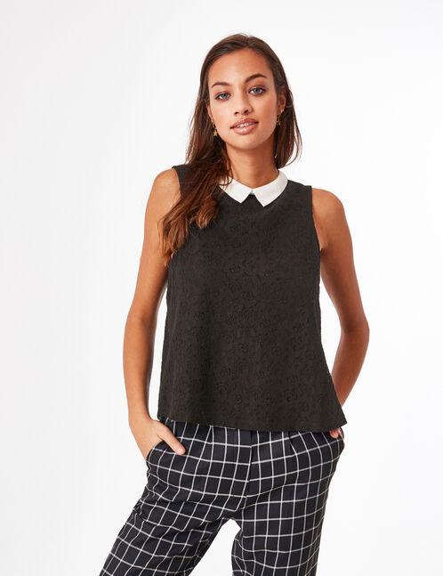 blouse dentelle avec col noire