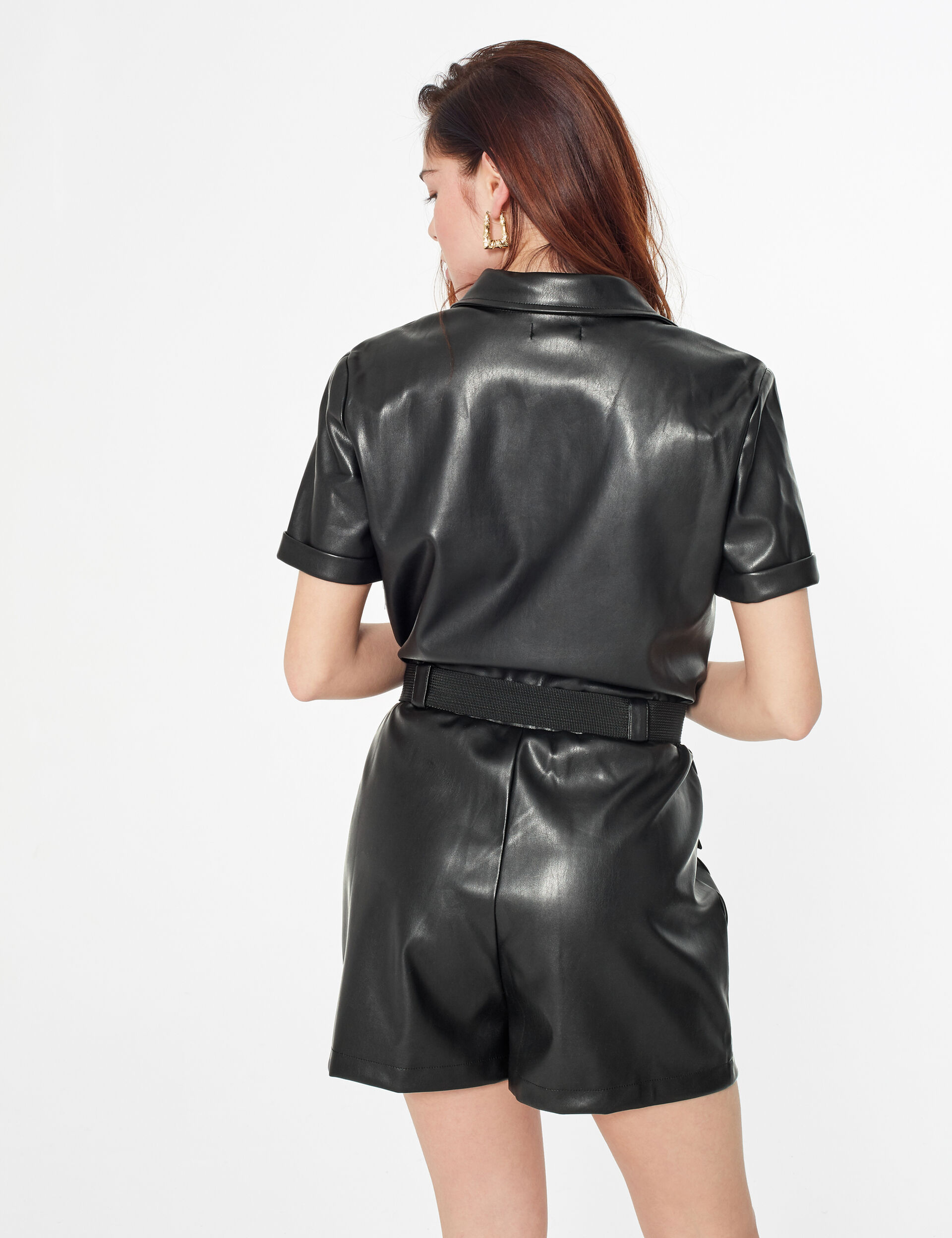 Faux leather playsuit