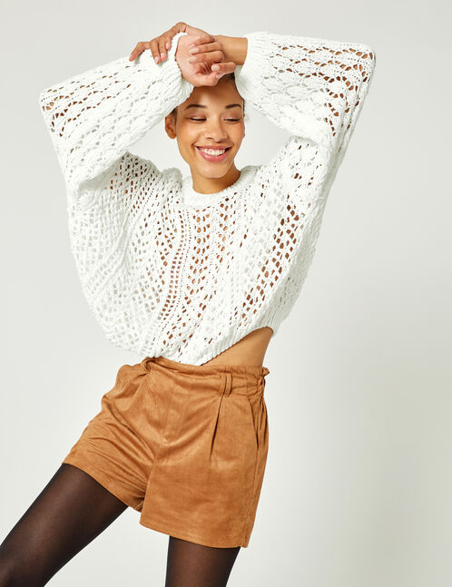 Loose-fit white openwork jumper
